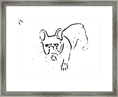 Frenchie Silhouette In Black Framed Print by Heather Joyce Morrill