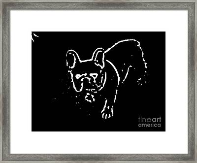 Frenchie Silhouette In White Framed Print by Heather Joyce Morrill