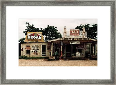 Frenchies Bar And One-pump Gas Station - Melrose, Louisiana  1940 Framed Print by Daniel Hagerman
