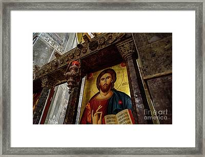 Fresco Painting Of Jesus At The Church Of Holy Luke At Monastery Of Hosios Loukas In Greece  Framed Print