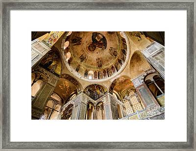 Frescoes And Mosaics Of The Church Of Holy Luke At Monastery Of Hosios Loukas In Greece Framed Print