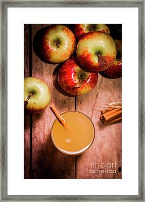Fresh Apple Cider With Cinnamon Sticks And Apples Framed Print
