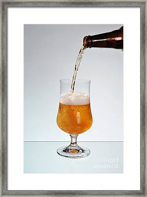 Fresh Beer Filling Glass On Stem  Framed Print by Arletta Cwalina