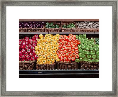 Fresh Bell Peppers At Whole Foods In New Orleans Framed Print by Sean Gautreaux