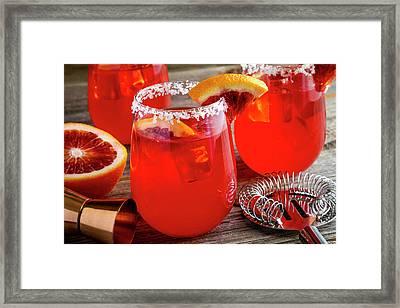 Framed Print featuring the photograph Fresh Blood Orange Margaritas by Teri Virbickis