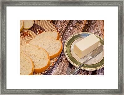 Fresh Bread And Butter Framed Print by Jon Manjeot