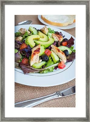 Fresh Chicken Salad With Avocado #2 Framed Print by Jon Manjeot