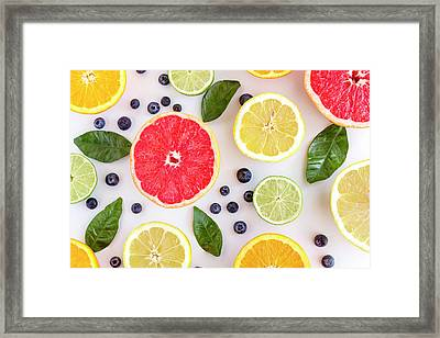 Fresh Citrus Fruits Framed Print by Teri Virbickis