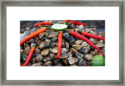 Framed Print featuring the photograph Fresh Clams With Chilies And Limes by Yali Shi