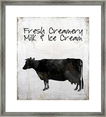 Fresh Creamery Milk And Ice Cream, Dairy Cow Working Farm Cow Kitchen Art Framed Print by Tina Lavoie