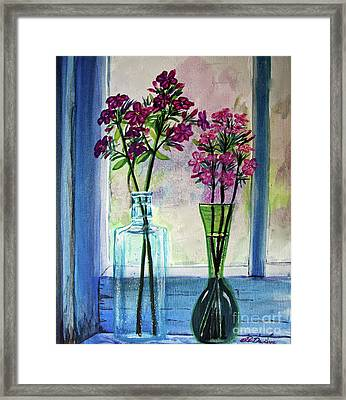 Framed Print featuring the painting Fresh Cut Flowers In The Window by Patricia L Davidson