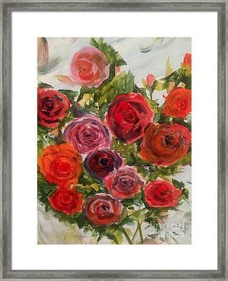 Fresh Cut Roses Framed Print