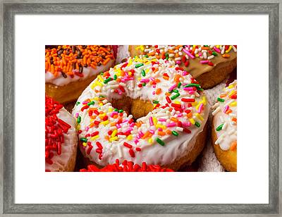 Fresh Donuts Framed Print by Garry Gay
