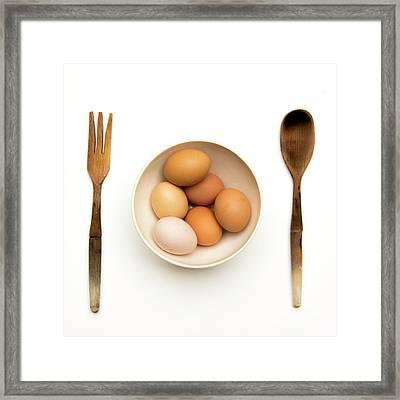 Fresh Eggs In Bowl Framed Print