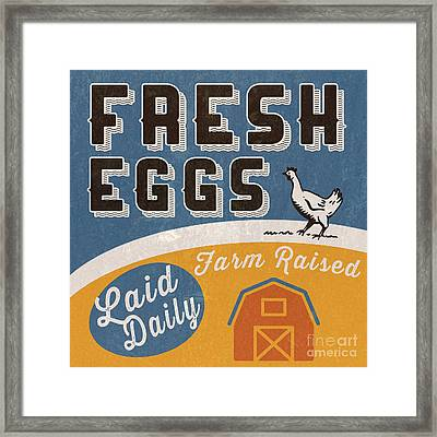 Fresh Eggs Laid Daily Retro Farm Sign Framed Print by Edward Fielding