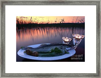 Fresh Fish Catch On A Plate At Sunset Time Framed Print by Mikko Palonkorpi