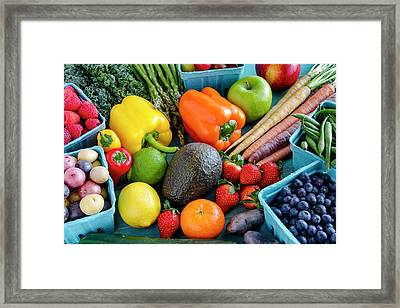 Fresh Fruits And Vegetables Framed Print by Teri Virbickis