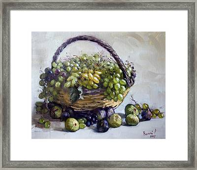 Fresh Grapes And Figs From Lida's Garden Framed Print