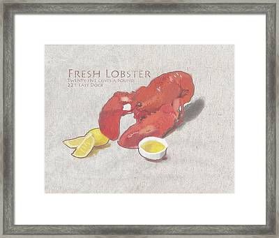 Fresh Lobster Sign Framed Print