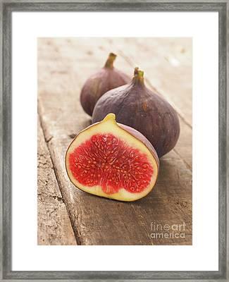 Fresh Organic Figs On Wood Framed Print by Andreas Berheide