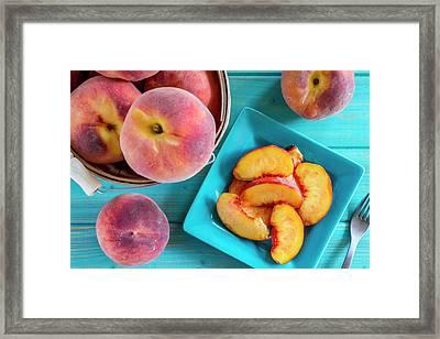 Fresh Organic Yellow Peaches And Peach Salsa Framed Print by Teri Virbickis