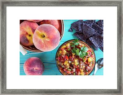 Fresh Peach Salsa Framed Print
