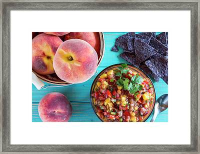 Fresh Peach Salsa Framed Print by Teri Virbickis