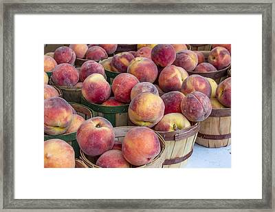 Fresh Peaches At The Market Framed Print by Teri Virbickis