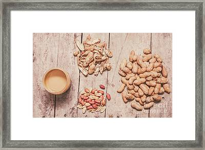 Fresh Peanuts, Shells, Raw Nuts And Peanut Butter Framed Print