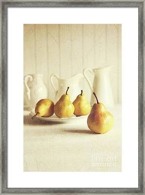 Fresh Pears On Old Wooden Table Framed Print by Sandra Cunningham