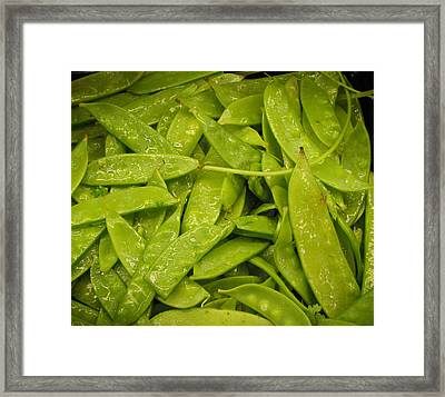 Fresh Peas Framed Print by Laurie With