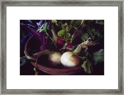 Fresh Produce In Wooden Bowl Framed Print by Toni Hopper