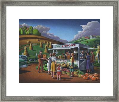 Fresh Produce - Roadside Produce Stand - Vegetables - Fruit Framed Print by Walt Curlee