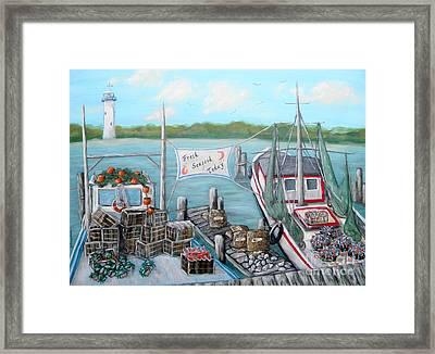 Fresh Seafood  Framed Print by JoAnn Wheeler