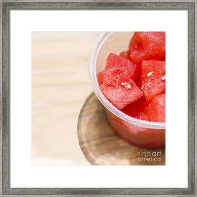 Fresh Slices Of Red Watermelon Close-up Framed Print