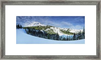Framed Print featuring the photograph Fresh Snow At Mount Rainier by Dan Mihai