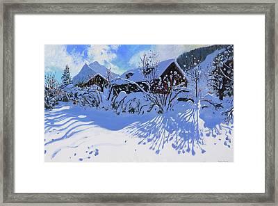 Fresh Snow, Morzine Village Framed Print by Andrew Macara