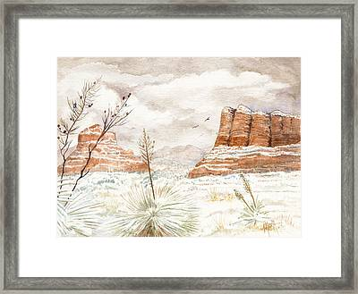 Fresh Snow On Bell Rock Framed Print by Marilyn Smith