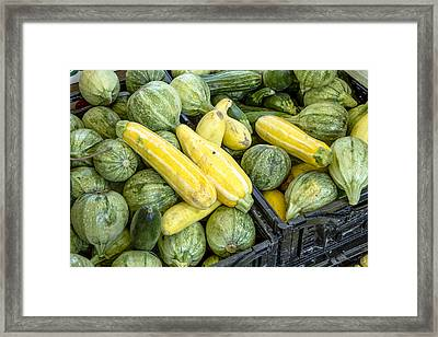 Fresh Squash At The Market Framed Print by Teri Virbickis