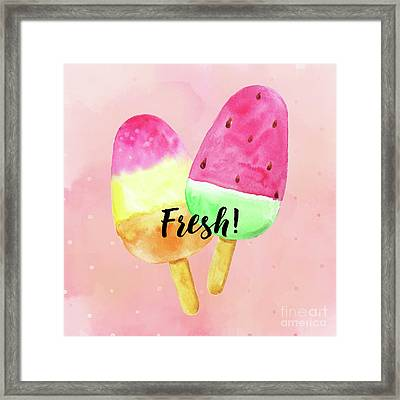 Fresh Summer Refreshing Fruit Popsicles Framed Print