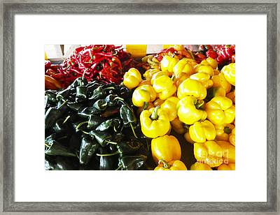 Fresh Sweet And Hot Peppers Framed Print by Thomas Marchessault