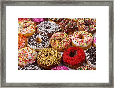 Fresh Tasty Donuts Framed Print by Garry Gay