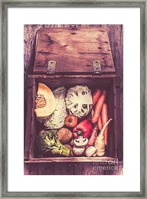 Fresh Vegetables In Wooden Box Framed Print
