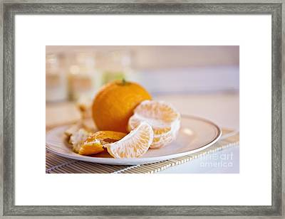 Framed Print featuring the photograph Freshly Peeled Citrus by Cindy Garber Iverson