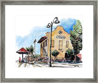 Framed Print featuring the painting Old Fresno Depot by Terry Banderas