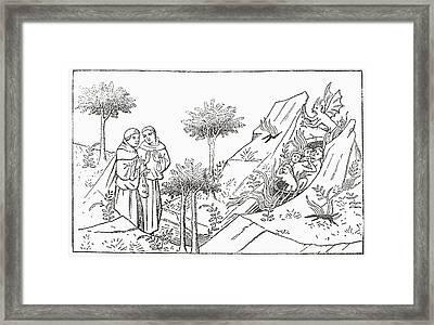 Friar Oderic Arrives At Purgatory Framed Print