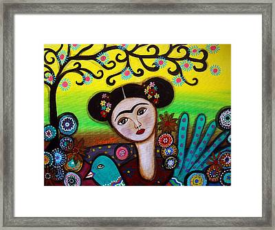 Framed Print featuring the painting Frida And Bird by Pristine Cartera Turkus