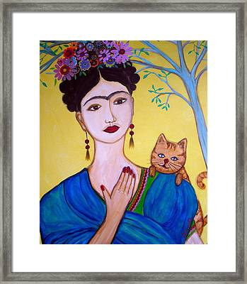 Frida And Her Cat Framed Print by Pristine Cartera Turkus