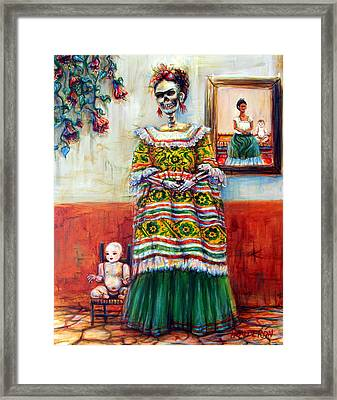 Framed Print featuring the painting Frida And Her Doll by Heather Calderon