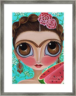 Frida And The Watermelon Framed Print by Jaz Higgins